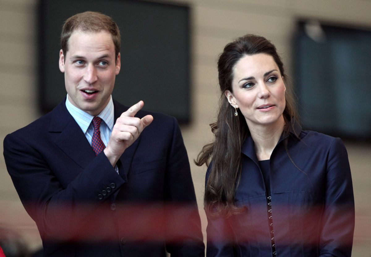 Britain's Prince William and Kate Middleton watch a demonstration by students at Darwen Aldridge Community Academy in Darwen, England. (AP/Adrian Dennis, Pool)