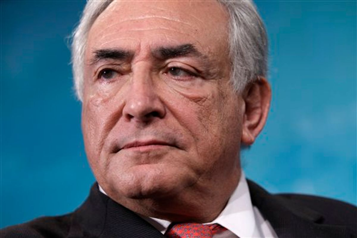 FILE - In this April 15, 2011, file photo International Monetary Fund Managing Director Dominique Strauss-Kahn attends the IMF/World Bank spring meetings in Washington. Strauss-Kahn, 62, seen as the strongest potential challenger to French President Nicolas Sarkozy in 2012 presidential elections, was pulled off a plane bound for Paris at New York's John F. Kennedy International Airport Saturday May 14, 2011, and subsequently arrested in connection with the violent sexual assault of a New York hotel maid. Political rivals expressed shock at his arrest. (AP Photo/J. Scott Applewhite, File) (AP)