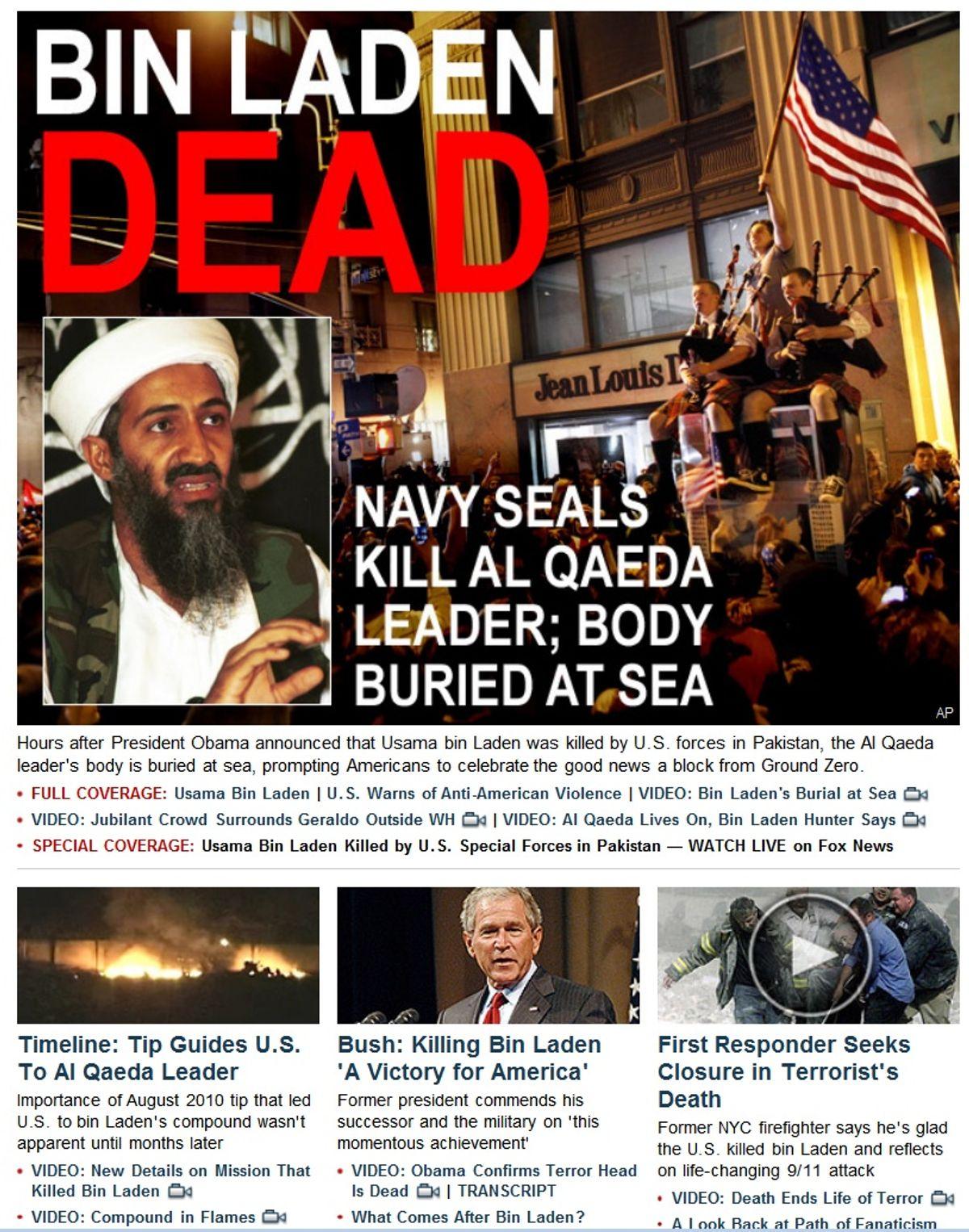 Screenshot from Fox News website