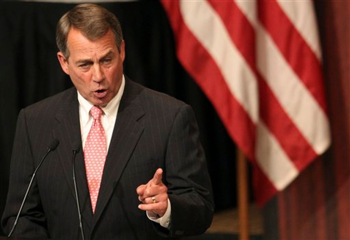 U.S. House Speaker John Boehner gestures as he addresses the Economic Club of New York in New York, Monday, May 9, 2011.  The Economic Club of New York is a non-political, non-partisan and non-profit organization with members from the executive levels of business, industry and finance. Its mission is to promote the study and discussion of social, economic, and political questions. (AP Photo/Kathy Willens) (AP)