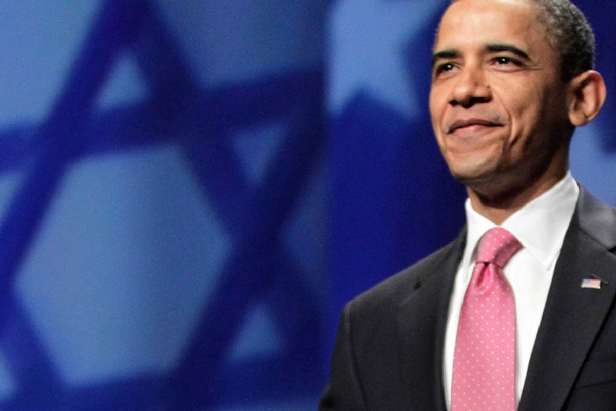 President Obama arrives to speak at the American Israel Public Affairs Committee (AIPAC) convention on Sunday.