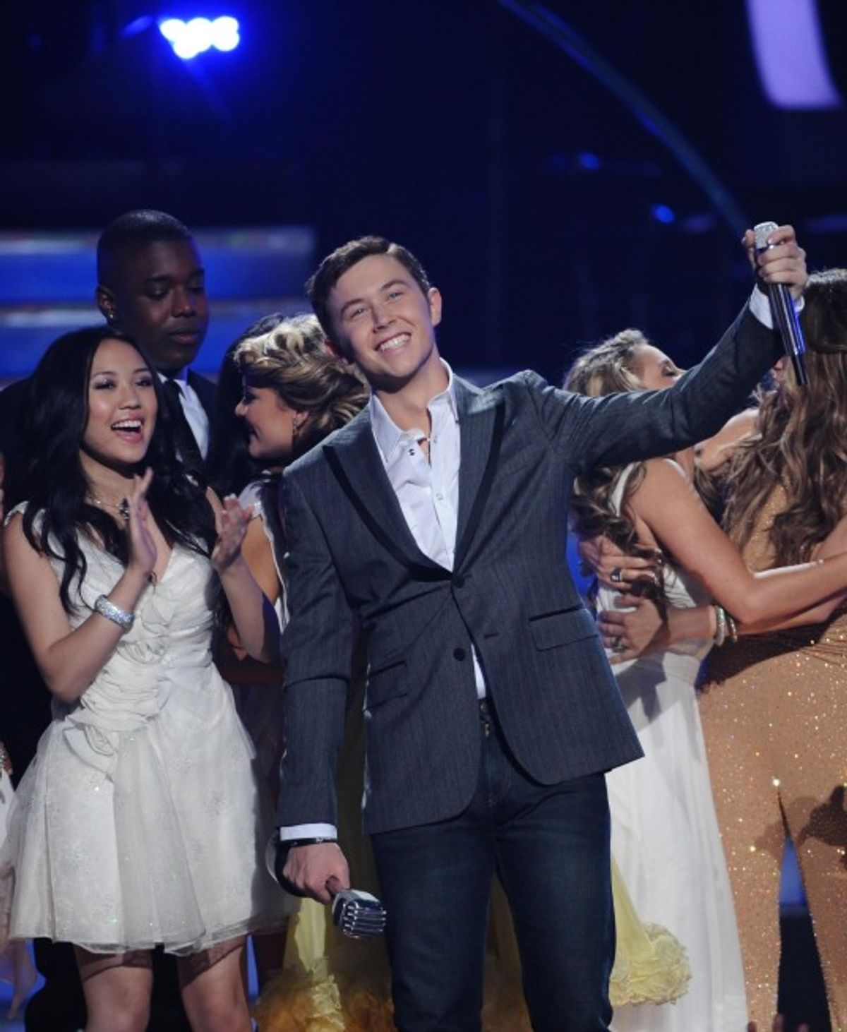 AMERICAN IDOL: Scotty McCreery learns that he is the next American Idol during the season ten AMERICAN IDOL GRAND FINALE at the Nokia Theatre on Weds. May 25, 2011 in Los Angeles, California.  CR: Michael Becker/FOX