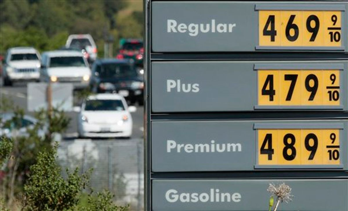 A price board is shown at a Shell gas station in Novato, Calif., Thursday, May 5, 2011. Oil tumbled nearly 7 percent Thursday amid new signs that demand for fuel in the U.S. is weakening. (AP Photo/Jeff Chiu)  (AP)