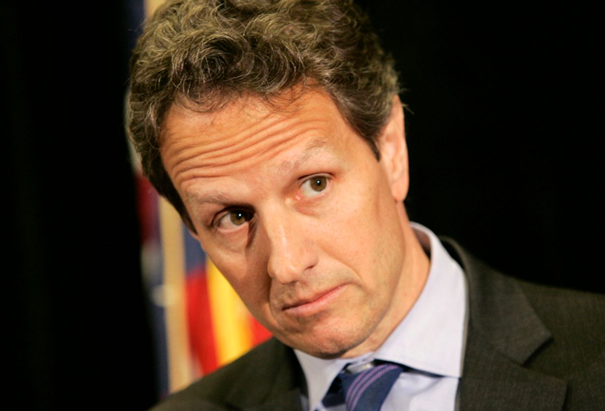 U.S. Treasury Secretary Tim Geithner listens to a reporter's question during a news conference at the United Steelworkers headquarters in Pittsburgh, Pennsylvania, March 31, 2010. REUTERS/Jason Cohn (UNITED STATES - Tags: POLITICS) (© Jason Cohn / Reuters)