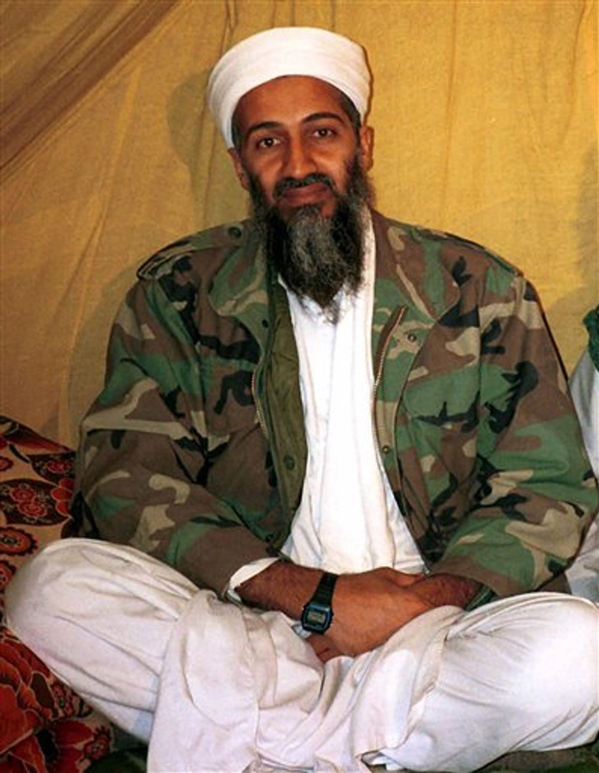 FILE -This undated file photo, shows Osama bin Laden. Americans are expected to get a glimpse of Osama bin Laden's daily life with the disclosure of home videos showing him strolling around his secret compound, along with propaganda tapes that have never been made public (AP Photo/File) (AP)