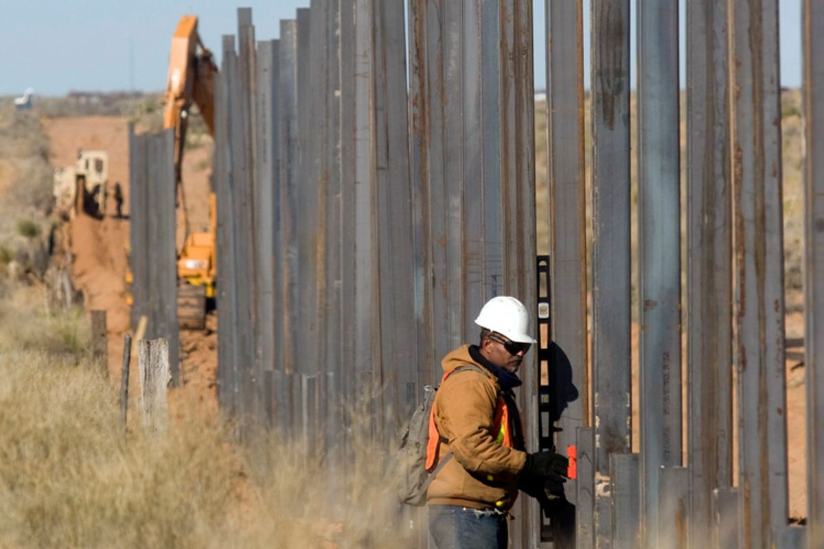 U.S. workers build a section of the Mexico-U.S. border wall near the Jeronimo-Santa Teresa border crossing in Chihuahua.