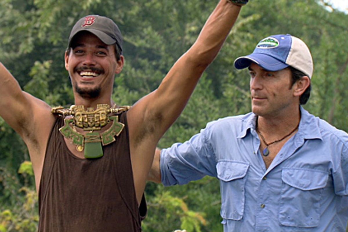 """The once and future champ: """"Survivor: Redemption Island"""" winner """"Boston"""" Rob Mariano with host Jeff Probst."""