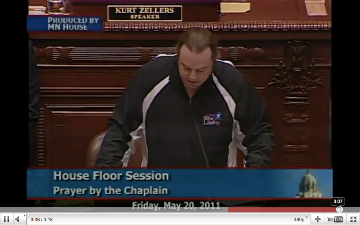 Bradlee Dean delivering a prayer on the floor of the Minnesota House.