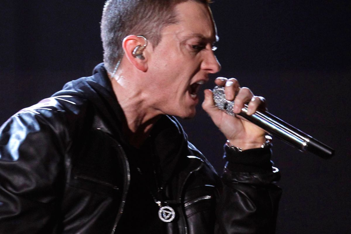 Eminem wears an Alcoholics Anonymous pendant at the Grammy Awards in February.