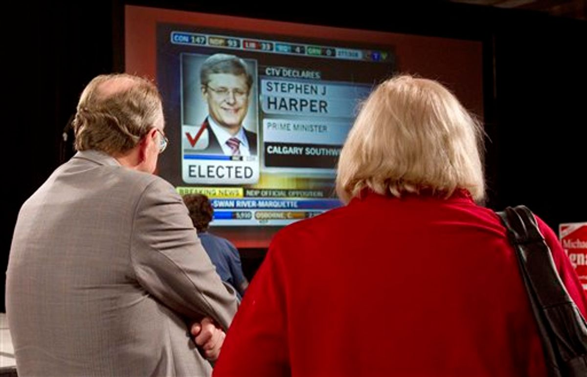 Liberal supporters watch the election results at the Liberal headquarters Monday, May 2, 2011 in Toronto, Ontario, Canada. (AP Photo/The Canadian Press, Frank Gunn) (AP)