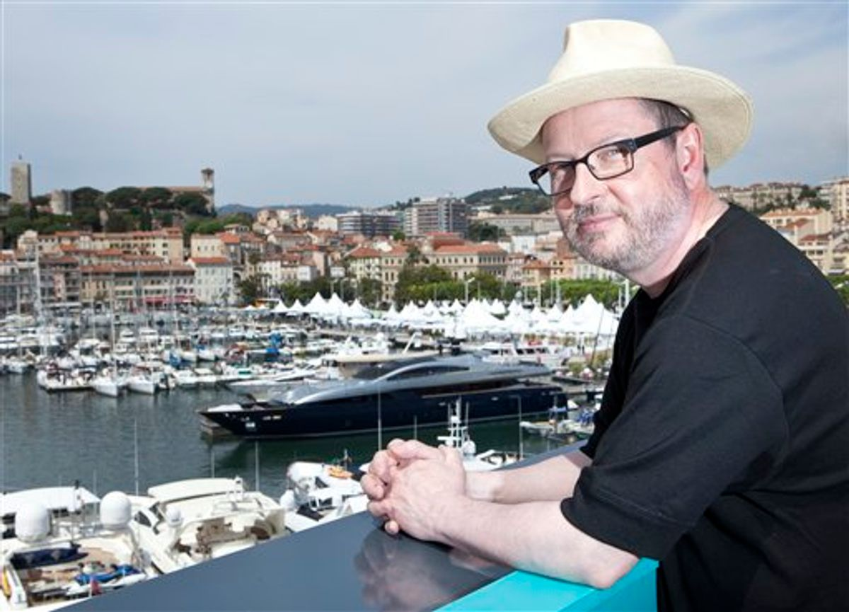 Director Lars Von Trier poses for portraits after an interview with the Associated Press promoting the film Melancholia at the 64th international film festival, in Cannes, southern France, Wednesday, May 18, 2011. (AP Photo/Joel Ryan) (AP)