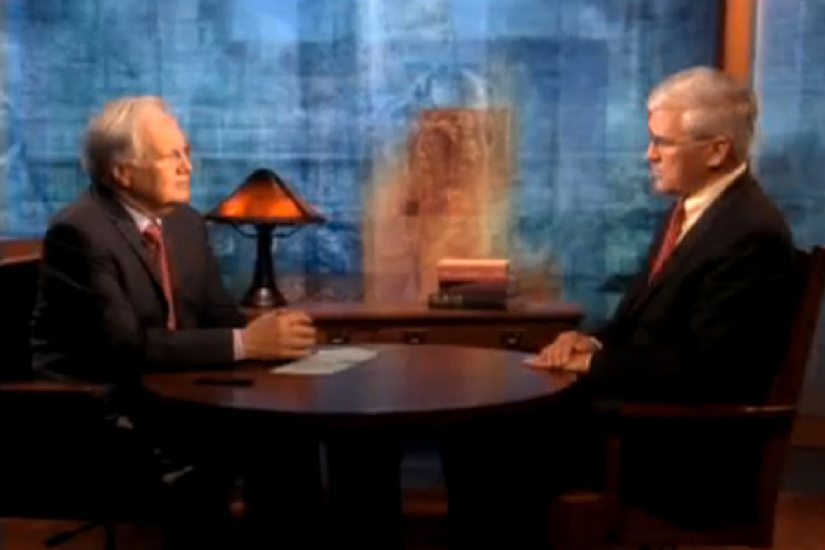 """Bill Moyers talks with Andrew Bacevich on """"Bill Moyers Journal"""" in 2009."""