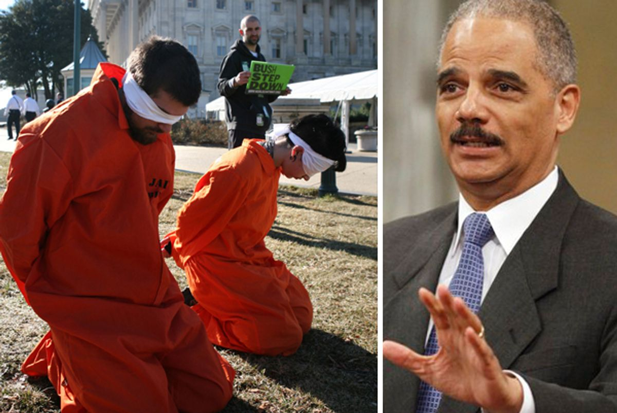 """Left: Protesters against the Bush administration from a group called """"World Can't Wait"""" mimic tortured prisoners on the grounds of the Capitol Building in Washington January 30, 2006. Right: Attorney General Eric Holder"""