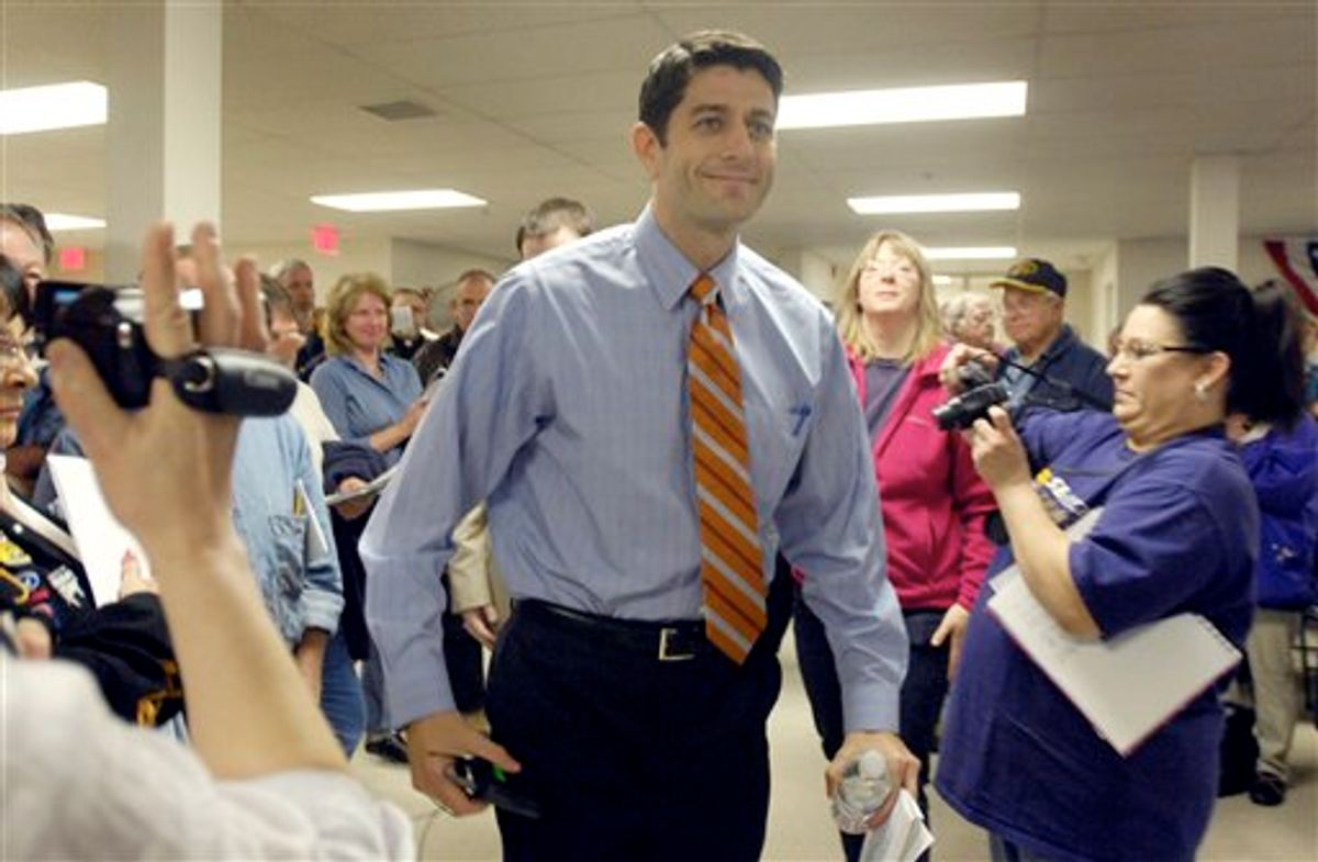 """Cong. Paul Ryan (R-Janesville) arrives for his town hall meeting about his Federal budget plan,Thursday April 28, 2011 at the Waterford Village Hall. in """"Waterford, Wis. (AP Photo/The Journal Times, Mark Hertzberg) (AP)"""