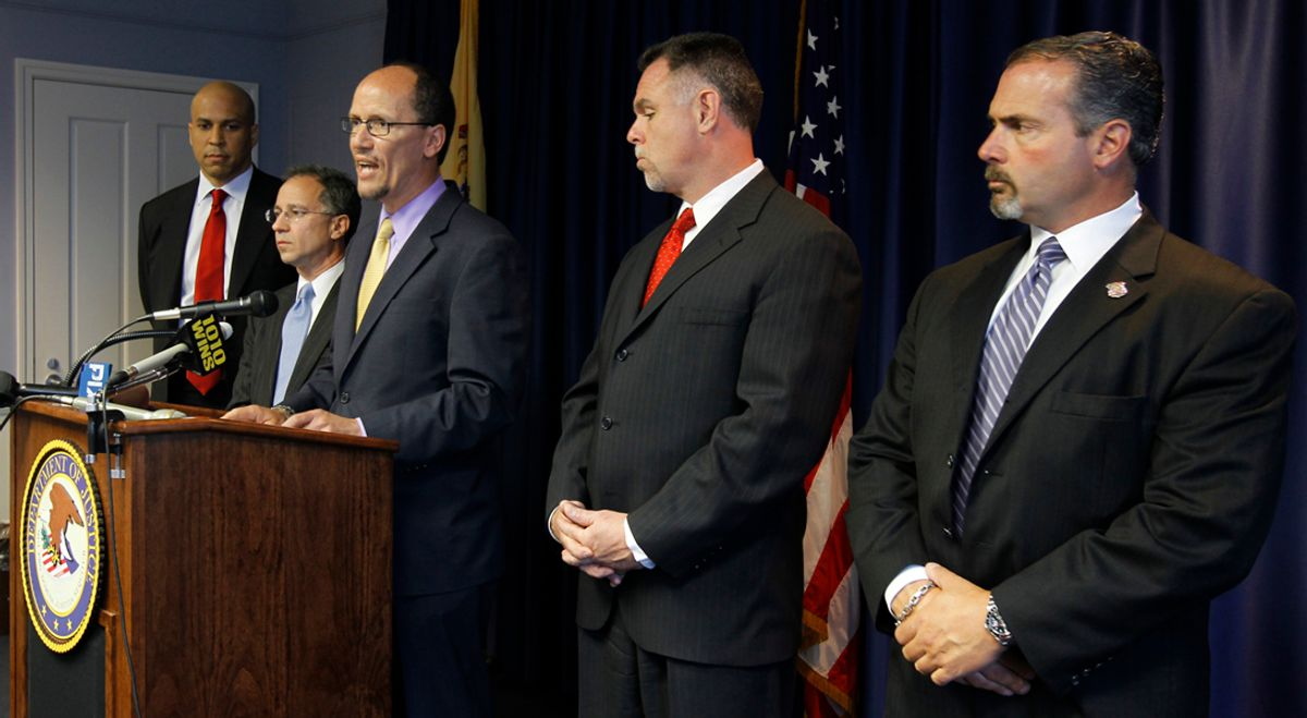 Thomas Perez, Assistant Attorney General for the Civil Rights Division, center, talks about a federal investigation of the Newark Police Department during a news conference, Monday, May 9, 2011 in Newark, N.J. Standing with him are, from left, Newark Mayor Cory Booker, U.S. Attorney for the District of New Jersey Paul J. Fishman, Newark Police Director Garry McCarthy and Acting Newark Police Director Sam DeMaio. The Department of Justice on Monday announced an investigation into the policies and practices of the police department of New Jersey's largest city. The move comes months after the state American Civil Liberties Union complained of rampant misconduct and lax internal oversight at the Newark Police Department, although federal and city officials insisted that the ACLU's petition wasn't the main reason for the probe. (AP Photo/Julio Cortez)    (Julio Cortez)