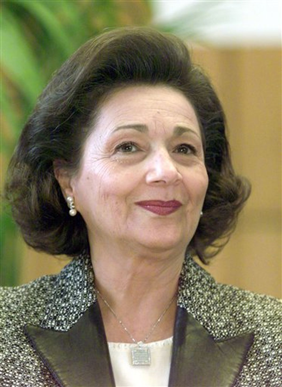 FILE - In this Feb. 19, 2003 file photo, Suzanne Mubarak, wife of Egypt's President Hosni Mubarak, smiles at the Free University Berlin. Egyptian authorities have ordered the detention of Suzanne Mubarak, wife of deposed President Hosni Mubarak, the government-run MENA news service says. The move on Friday May 13, 2011 comes a day after the government reported that Mubarak and his wife were questioned over suspicions they illegally amassed vast wealth. (AP Photo/Franka Bruns, File)   (Associated Press)
