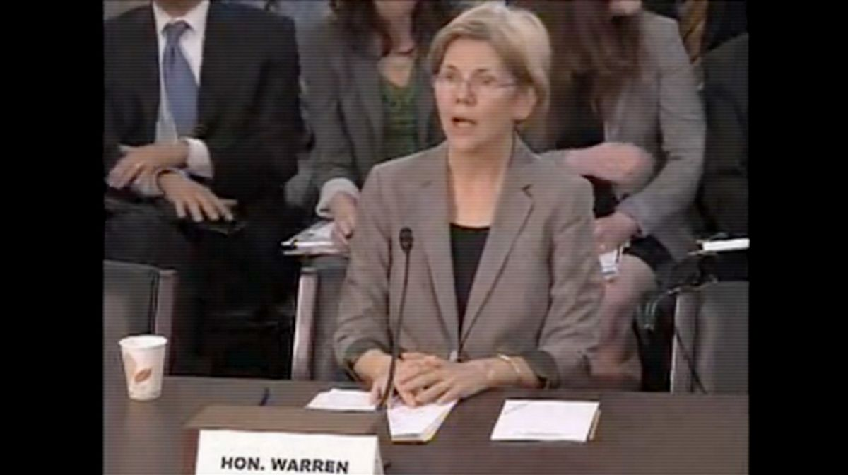 Elizabeth Warren, interim director of the Consumer Financial Protection Bureau, appearing before the House Oversight Committee on May 24, 2011.