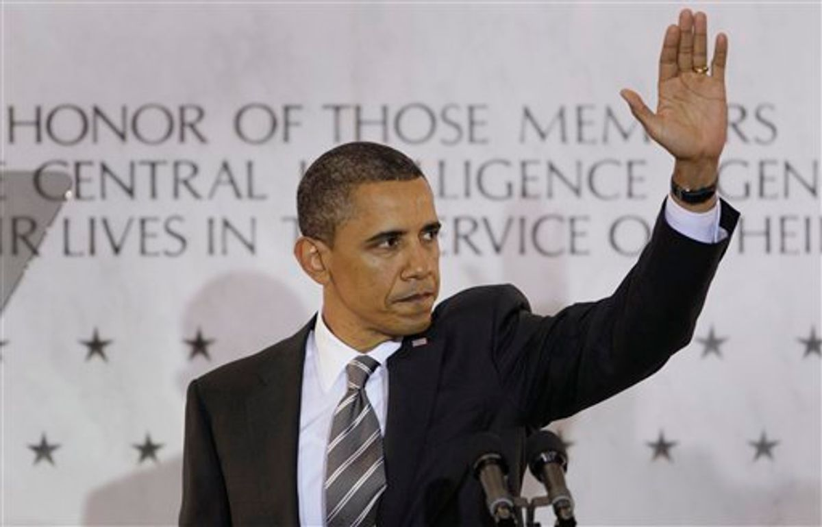 President Barack Obama waves to CIA employees after speaking at CIA headquarters in Langley, Va., Friday, May 20, 2011. Obama congratulated the country's intelligence workers for the years of effort that led to the discovery and killing of terrorist Osama bin Laden.  (AP Photo/Carolyn Kaster) (AP)