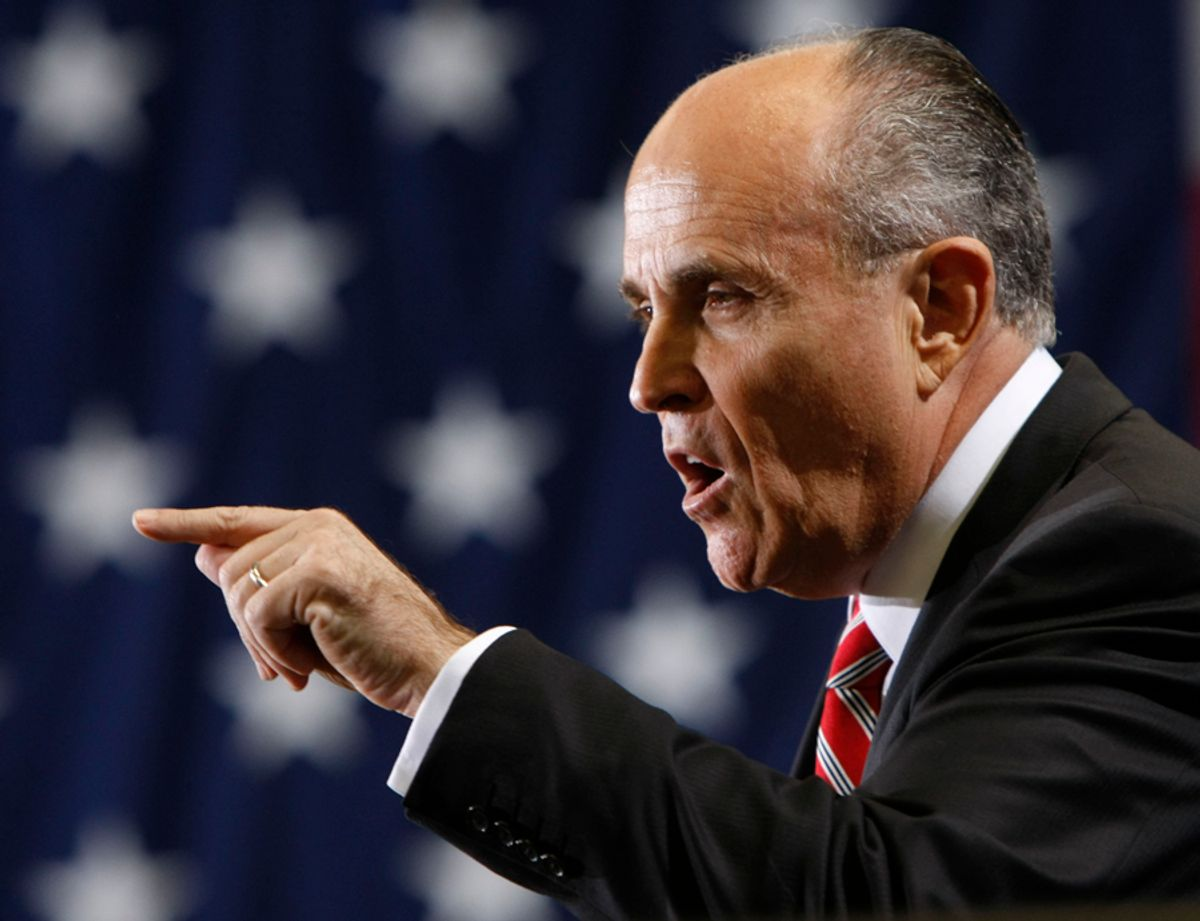 Then Republican presidential hopeful, former New York City Mayor Rudy Giuliani, speaking at a campaign rally in Clearwater, Fla., Monday, Jan. 28, 2008.