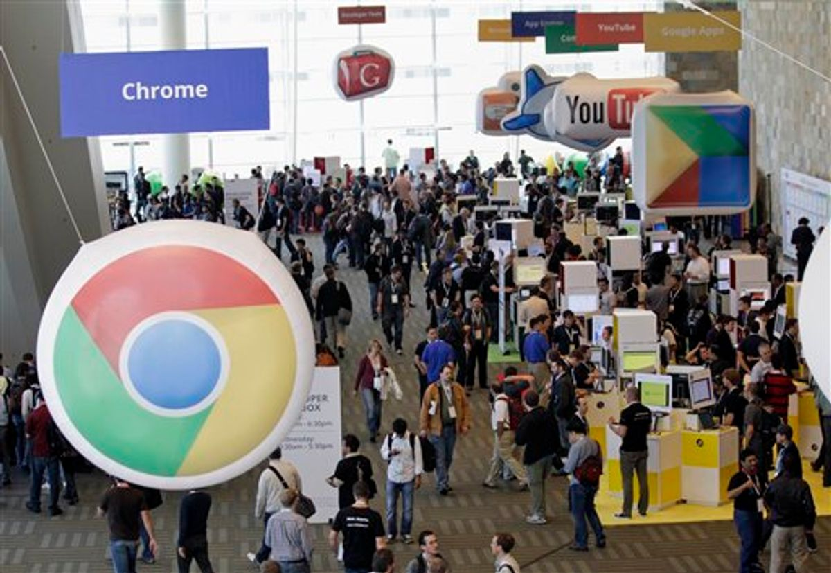 Attendees crowd the convention floor at the Google IO Developers Conference in San Francisco,  Tuesday, May 10, 2011.  (AP Photo/Marcio Jose Sanchez) (AP)
