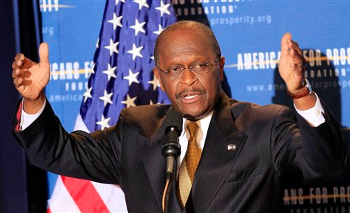 Possible 2012 presidential hopeful Republican businessman Herman Cain speaks during a dinner sponsored by Americans for Prosperity, Friday, April 29, 2011 in Manchester , N.H. (AP Photo/Jim Cole) (AP)