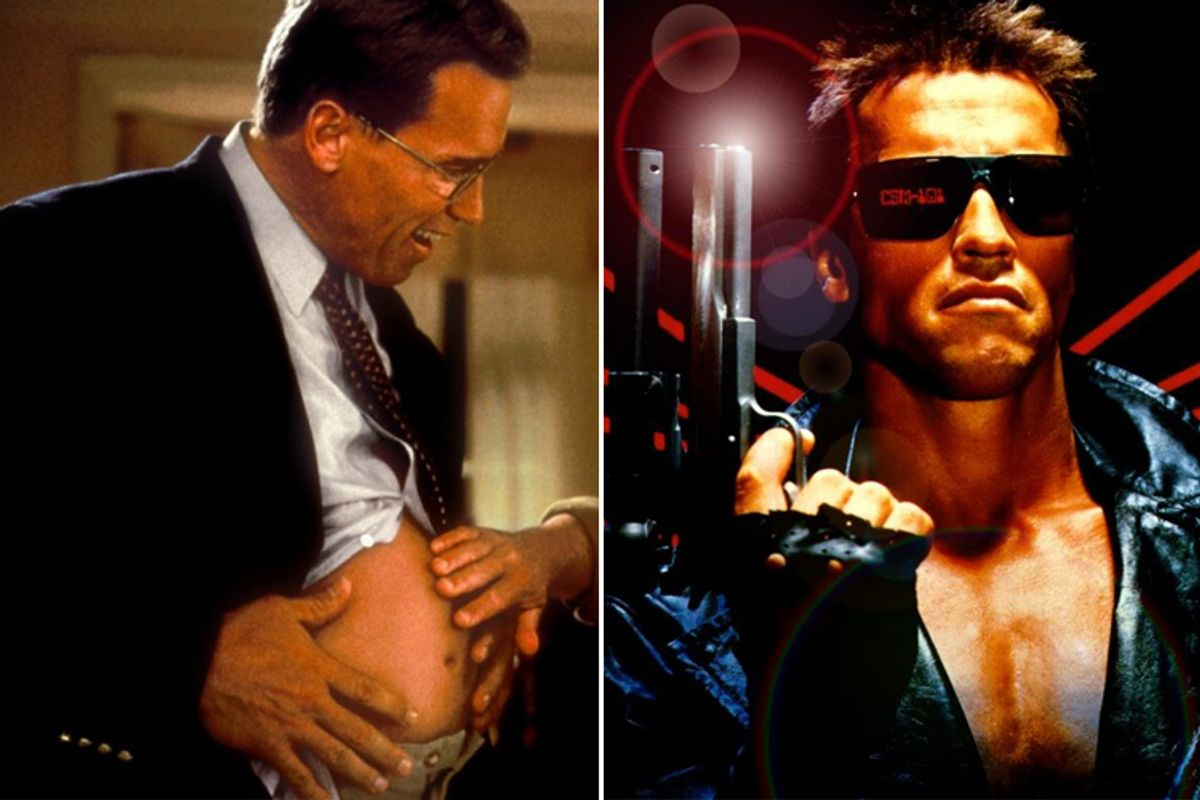 "Arnold Schwarzenegger in ""Junior,"" left, and ""The Terminator"""