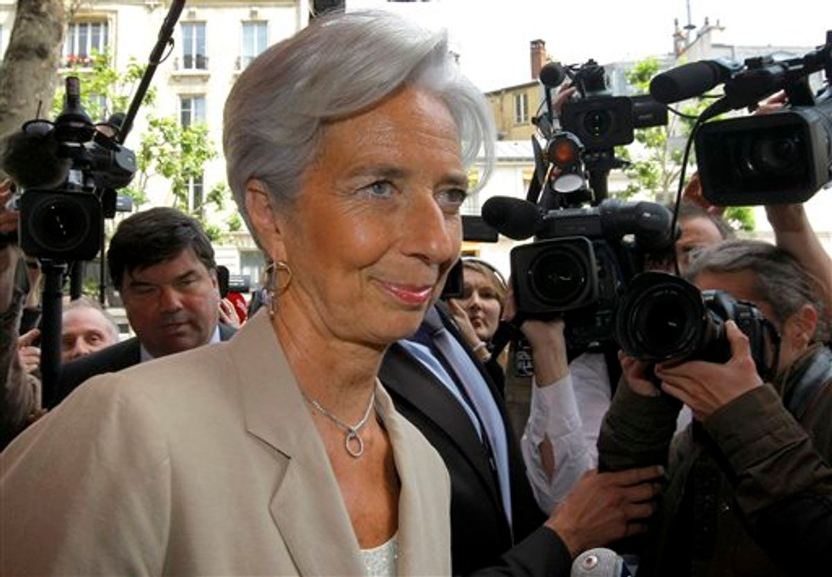 """France's Finance and Economy Minister Christine Lagarde visits a Parisian supermarket and goods retailer in Paris Thursday  May 19, 2011.  Lagarde has emerged as a potential candidate to replace IMF chief, Frenchman Dominique Strauss-Kahn who resigned Wednesday, saying he wants to devote """"all his energy"""" to fighting sexual assault charges in New York.  (AP Photo/Jacques Brinon) (AP)"""