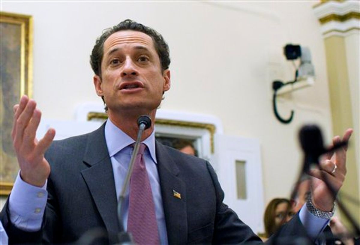 """FILE - In this Jan. 6, 2011 file photo, Rep. Anthony Weiner, D-N.Y., testifies before the House Rules Committee on Capitol Hill in Washington. A spokesman for Weiner on Sunday, May 29, 2011 said that a lewd photograph sent from the Democrat's Twitter account is just """"a distraction"""" perpetrated by a hacker.(AP Photo/Harry Hamburg, File) (AP)"""