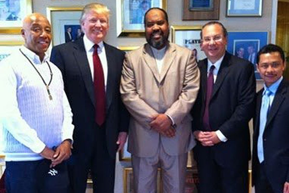 Russell Simmons and Rabbi Marc Schneier, along with Imam Shamsi Ali and Imam Mohammed Magid (President of the Islamic Society of North America), meet with Donald Trump at his office.