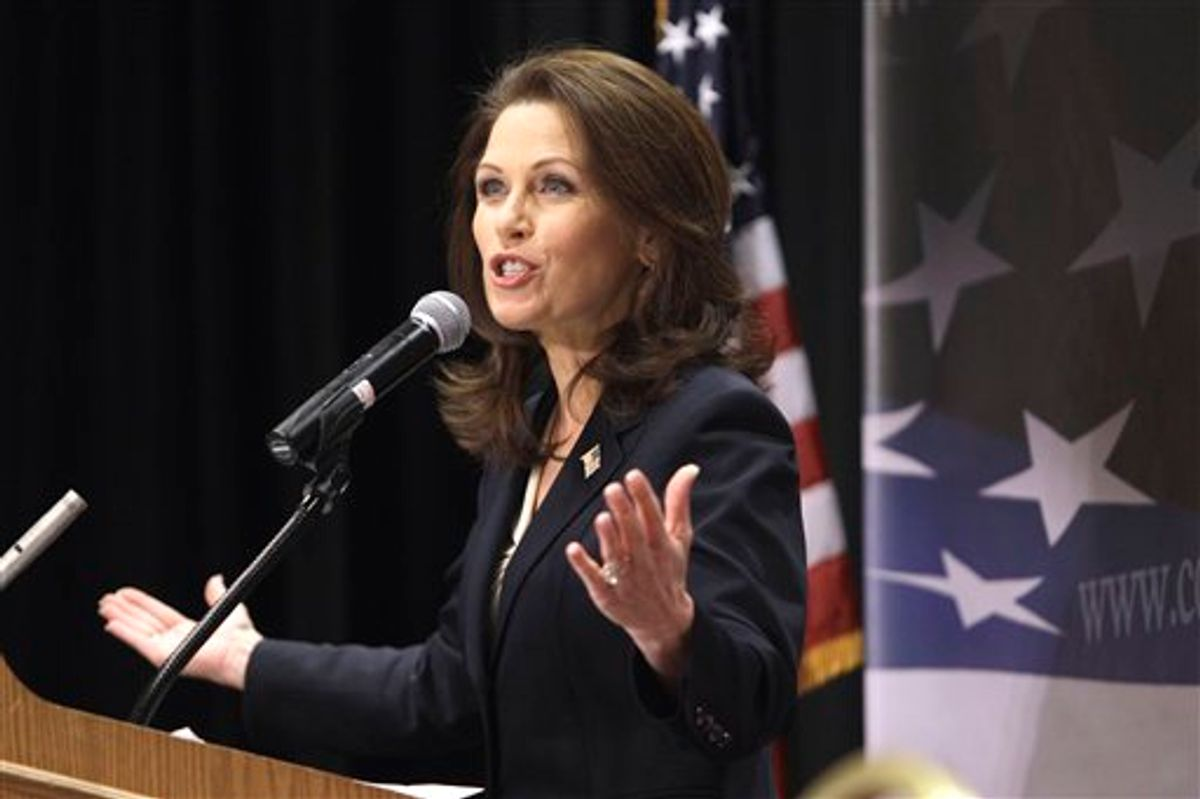 FILE - In this March 26, 2011 file photo, Rep. Michele Bachmann, R-Minn., speaks during the Conservative Principles Conference, in Des Moines, Iowa. Ready or not, the 2012 presidential campaign is under way in earnest a full 18 months before Election Day. The GOP field _ still muddy and made up of no less than a dozen people _ will become clearer in coming days as more Republicans declare they'll run or sit out _ and President Barack Obama's schedule already is packed with fundraisers and visits to states important to his re-election chances.  (AP Photo/Charlie Neibergall, File) (AP)