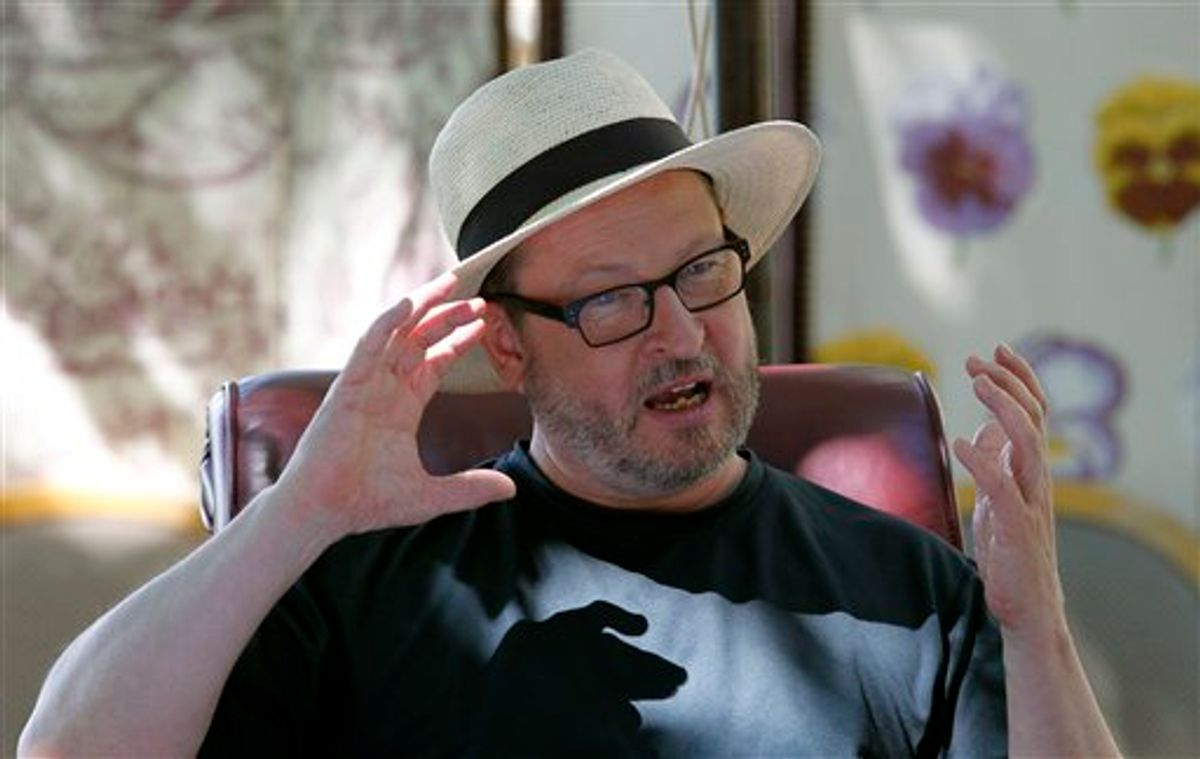 Director Lars Von Trier poses for photos during an interview in Mougins, southern France, Friday, May 20, 2011. On Thursday, May 19, 2011 the Danish filmmaker was booted out of the Cannes Film Festival for a bizarre, rambling news conference in which he said he sympathizes with Adolph Hitler. (AP Photo/Francois Mori) (AP)