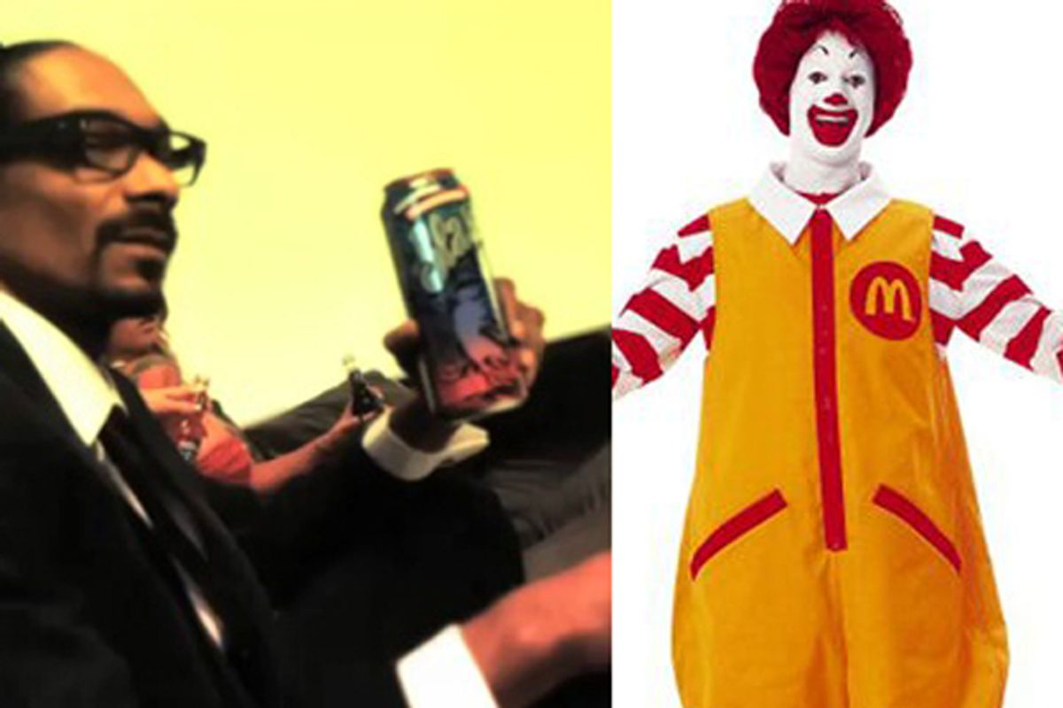 Snoop Dogg holding a Colt 45 and Ronald McDonald