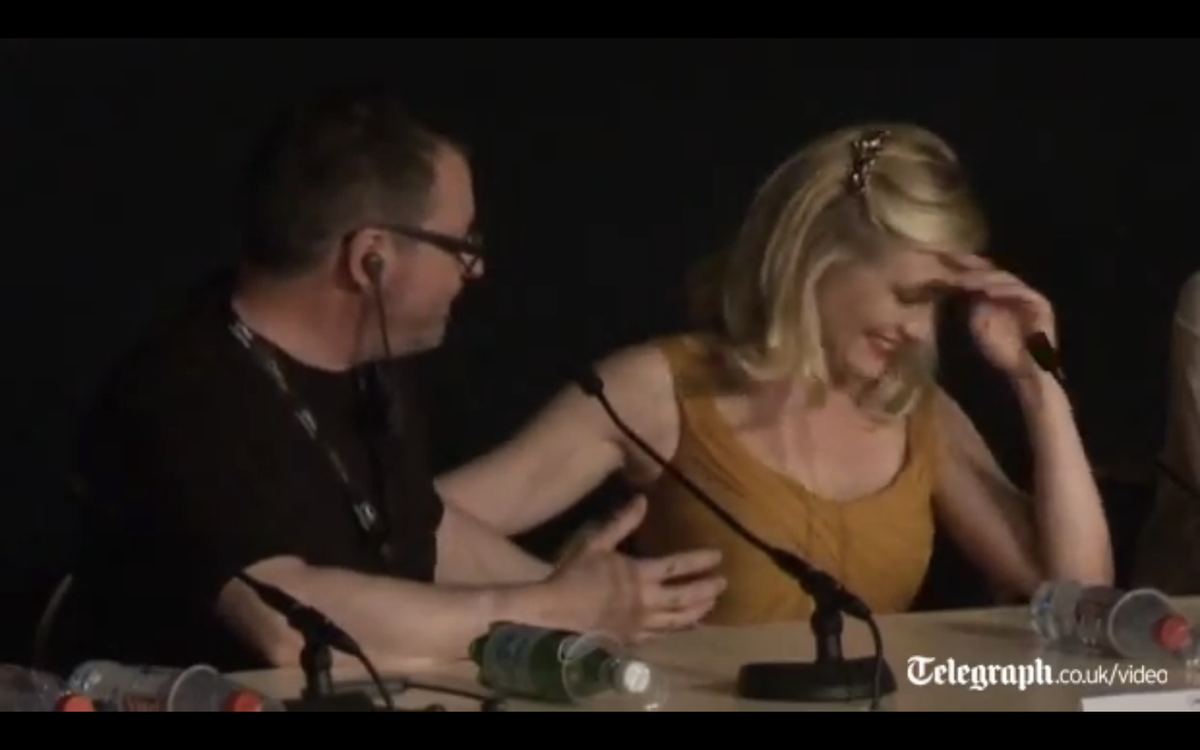 """Lars von Trier and Kirsten Dunst, star of his movie """"Melancholia,"""" at a news conference in Cannes."""