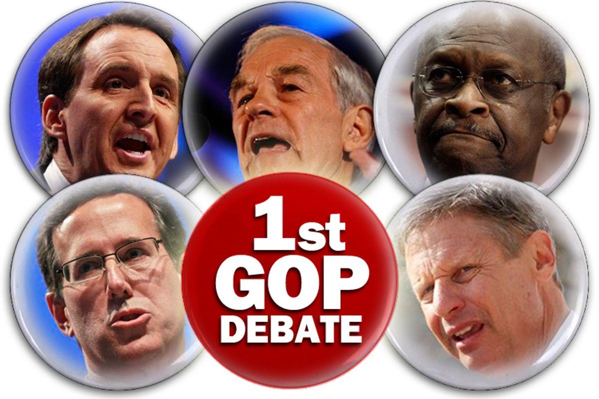L-R, clockwise: Tim Pawlenty, Ron Paul, Herman Cain, Gary Johnson, Rick Santorum