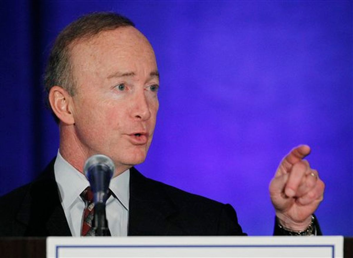 Gov. Mitch Daniels speaks at the state Republican Party fundraiser in Indianapolis, Thursday, May 12, 2011. (AP Photo/Darron Cummings)  (AP)