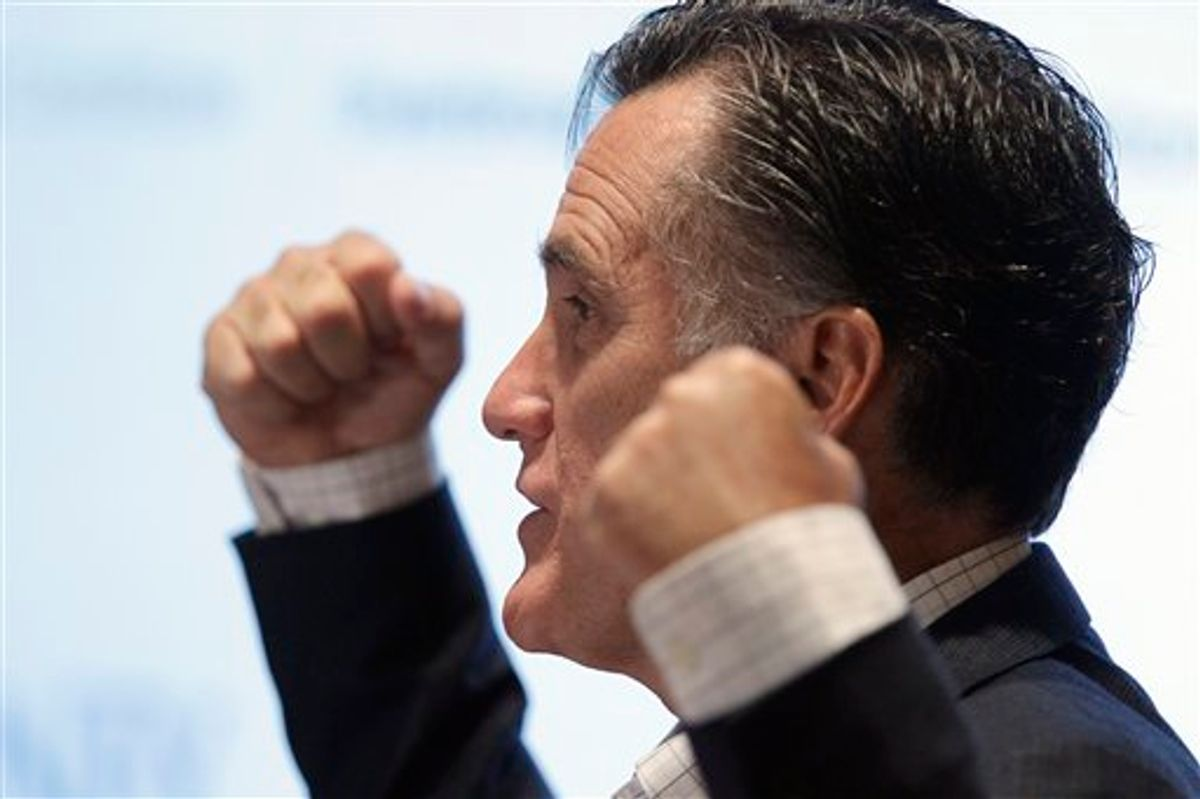 Mitt Romney lays out his plan for health care reform during an address at the University of Michigan Cardiovascular Center in Ann Arbor, Mich., Thursday, May 12, 2011. (AP Photo/Carlos Osorio) (AP)