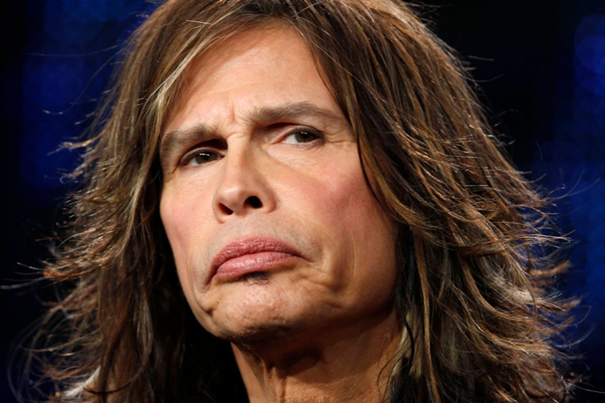 """Judge Steven Tyler takes part in a panel discussion for the show """"American Idol"""" at the Fox Broadcasting Company Winter Press Tour 2011 for the Television Critics Association in Pasadena, California January 11, 2011.  REUTERS/Lucy Nicholson (UNITED STATES - Tags: ENTERTAINMENT HEADSHOT) (© Lucy Nicholson / Reuters)"""