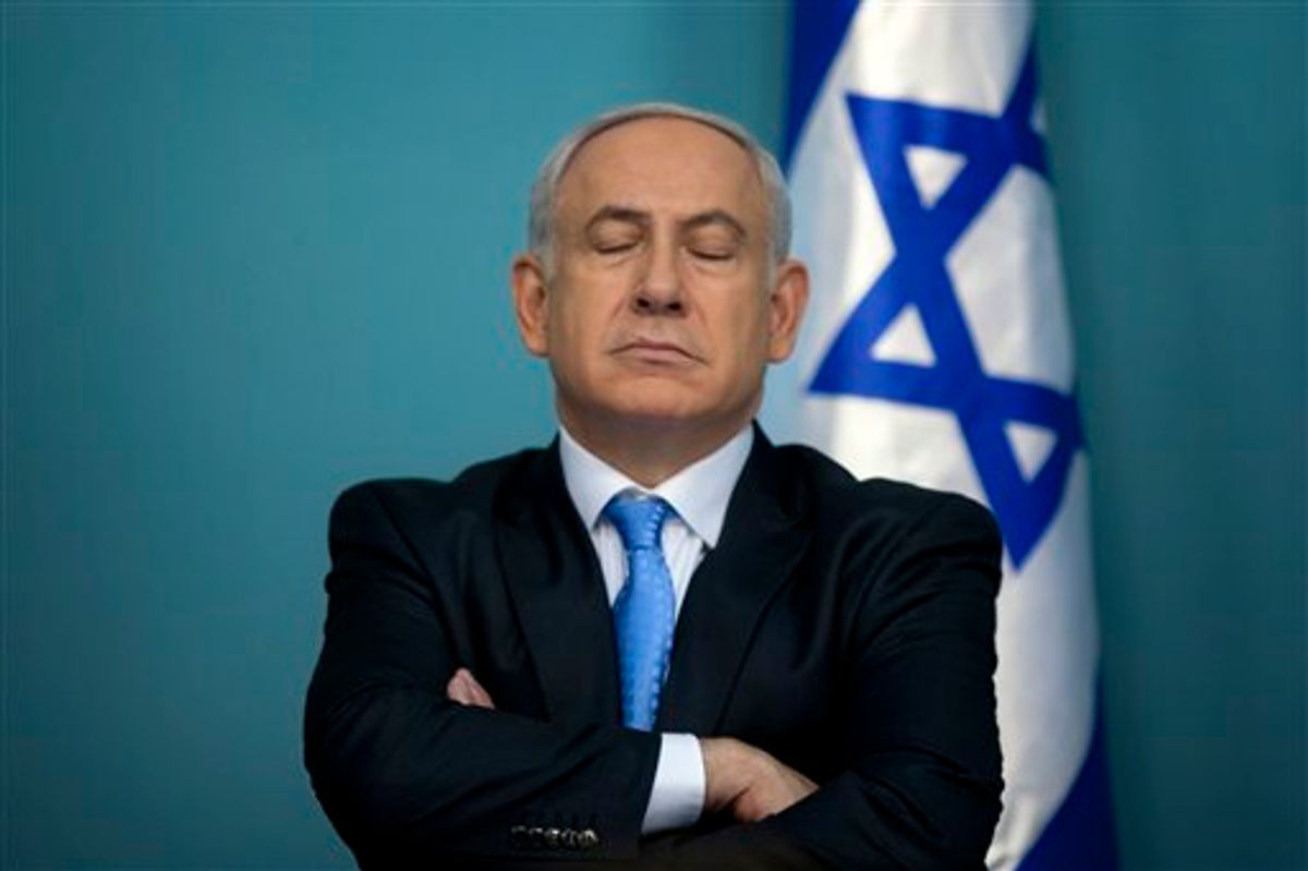Israeli Prime Minister Benjamin Netanyahu pauses during a press conference in his office in Jerusalem, Wednesday, May 18, 2011. When U.S President Barack Obama and Netanyahu meet this week to try to revive deadlocked Israeli-Palestinian peace talks, they will do so against a vastly changed Middle East landscape. (AP Photo/Sebastian Scheiner)  (AP)