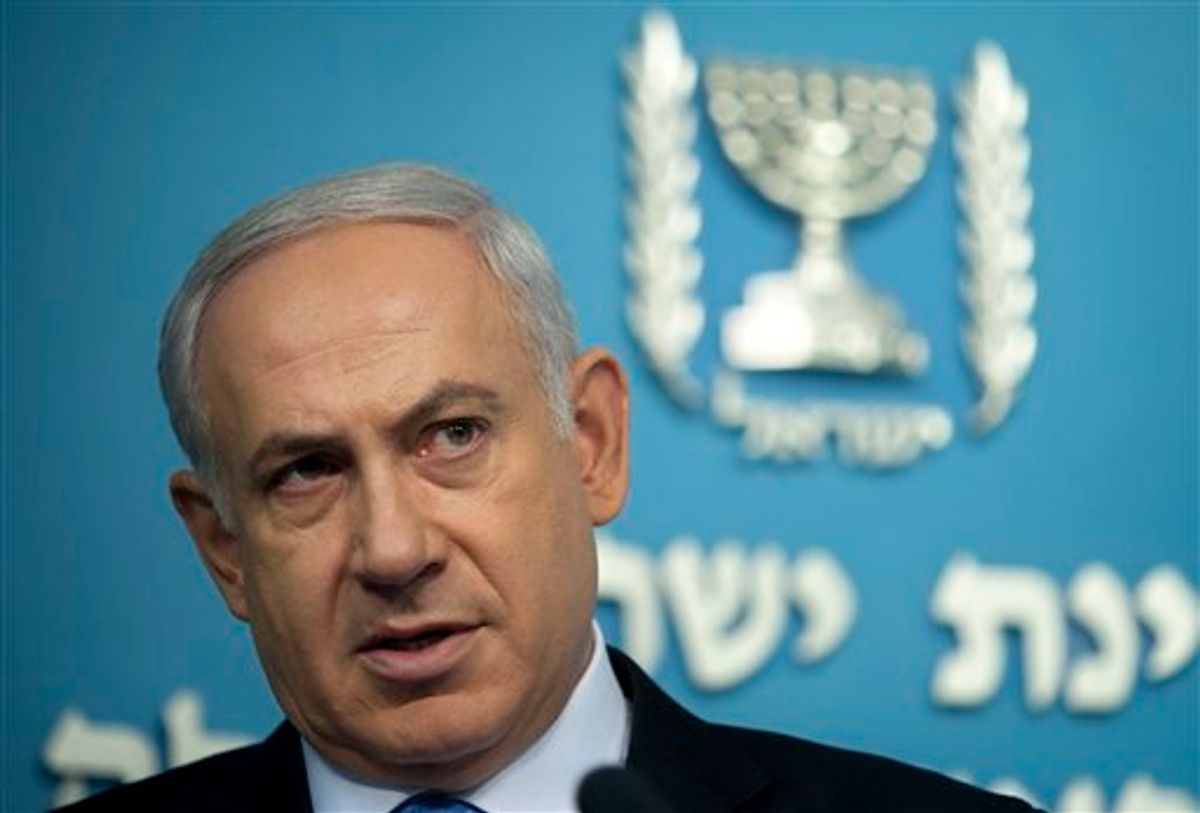 Israeli Prime Minister Benjamin Netanyahu during a press conference in his office in Jerusalem, Wednesday, May 18, 2011. When U.S President Barack Obama and Netanyahu meet this week to try to revive deadlocked Israeli-Palestinian peace talks, they will do so against a vastly changed Middle East landscape. (AP Photo/Sebastian Scheiner)  (AP)