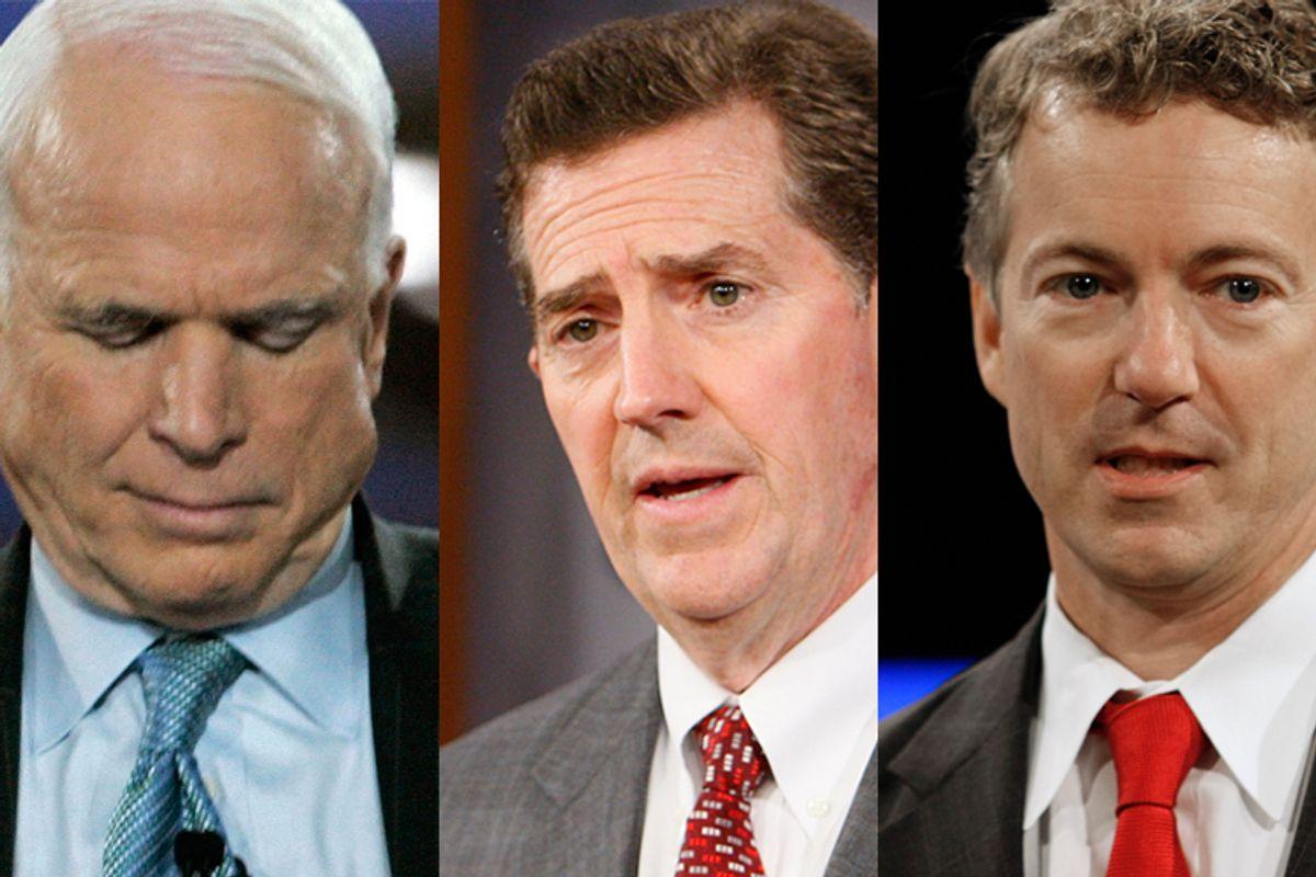 Republican senators John McCain, Jim DeMint, and Rand Paul