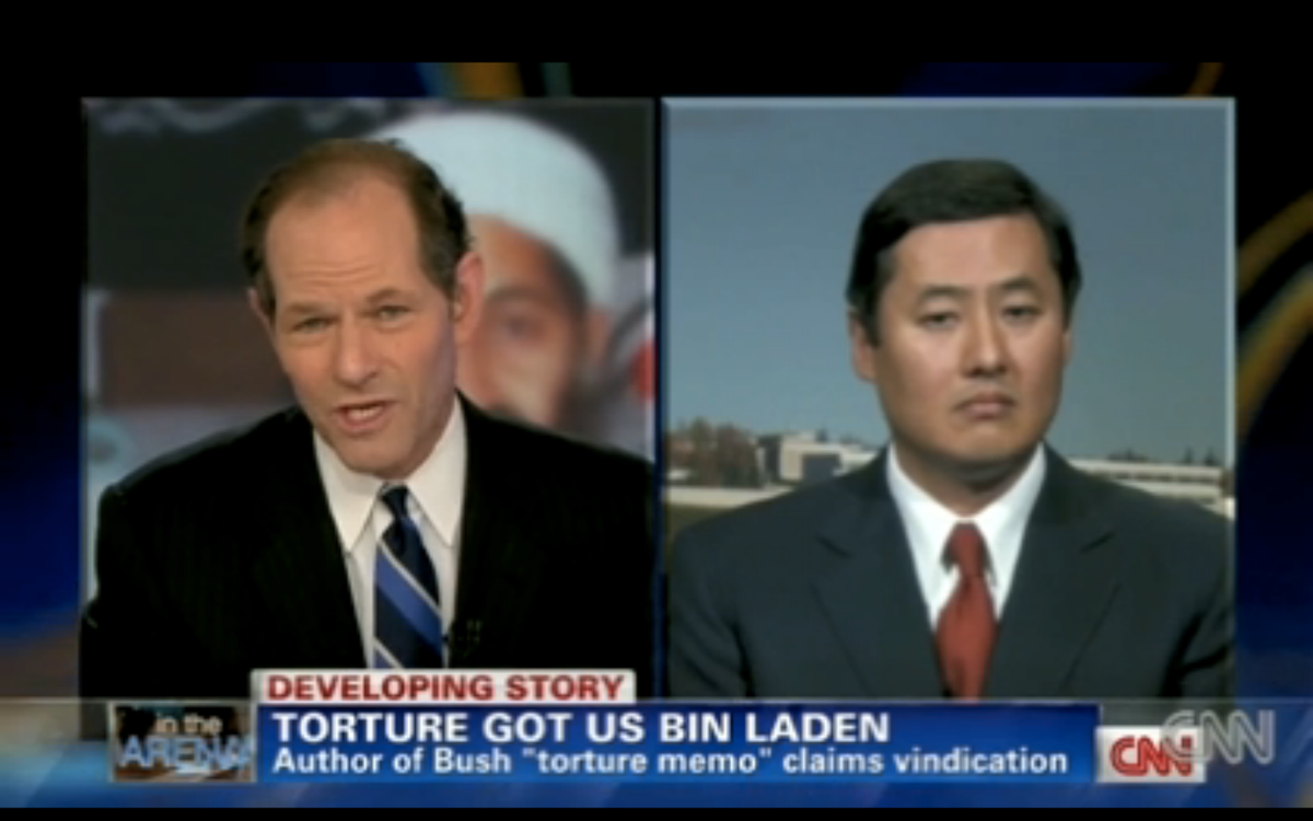 """John Yoo on Eliot Spitzer's CNN show, """"In the Arena."""""""