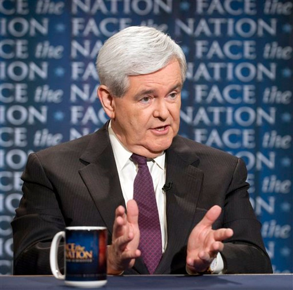 """In this photo provided by CBS News, former House Speaker and Republican  presidential candidate Newt Gingrich gestures as he speaks with host Bob Schieffer, not shown, on CBS-TV's """"Face the Nation,"""" Sunday, May 22, 2011, in Washington D.C. (AP Photo/CBS News, Chris Usher) (AP)"""