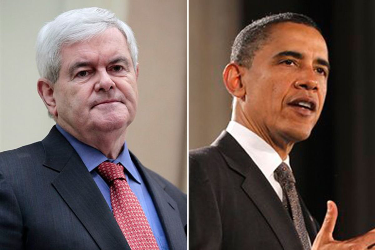 Newt Gingrich and President Obama