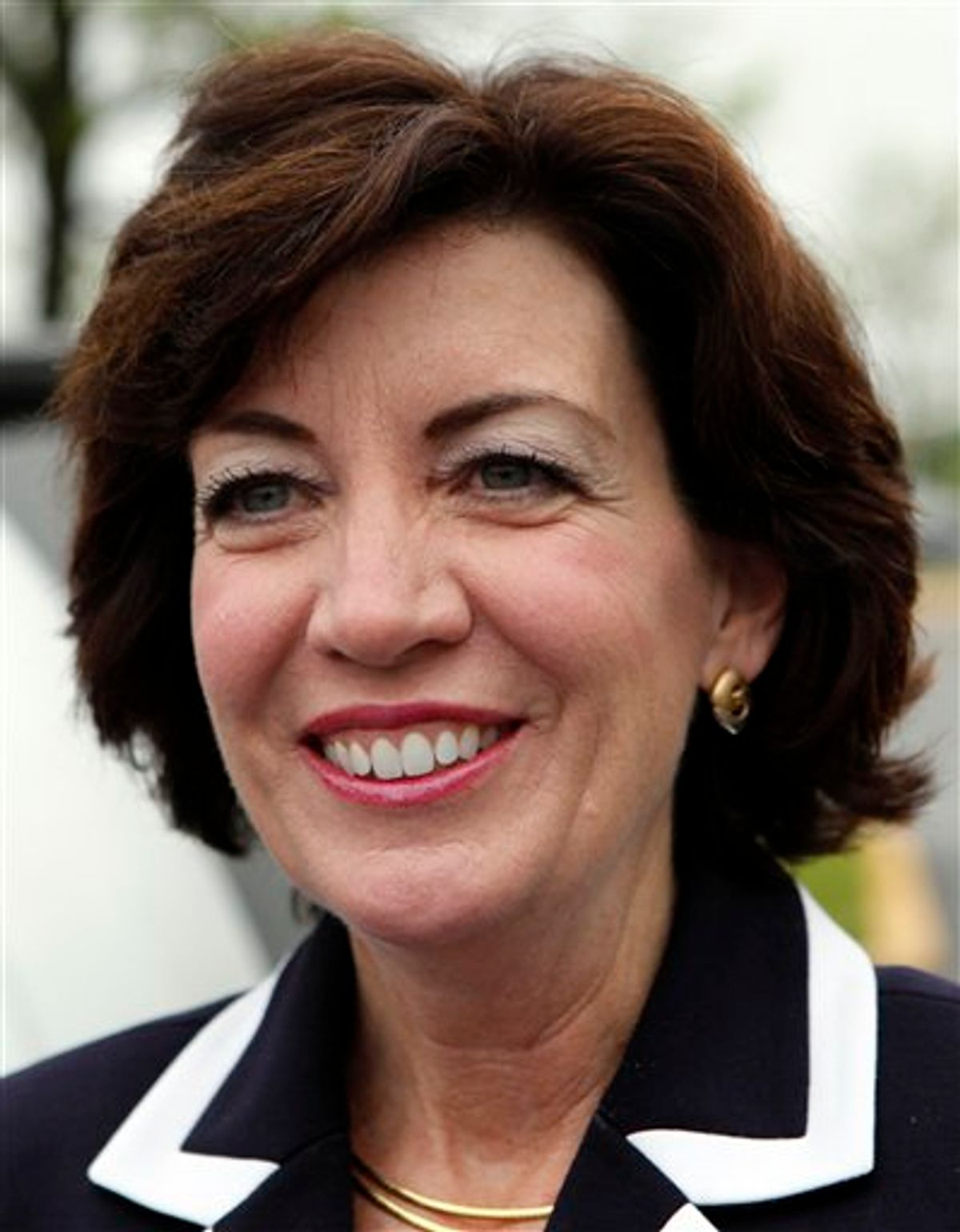 Democratic candidate for the 26th District Congressional seat, Kathy Hochul arrives at a campaign stop at a restaurant in Amherst, N.Y., Tuesday, May 24, 2011.   Hochul is running against Republican Jane Corwin and tea party candidate Jack Davis in the race to succeed Republican Chris Lee. Lee resigned in February after shirtless photos surfaced that he'd sent to a woman on Craigslist. (AP Photo/David Duprey) (AP)