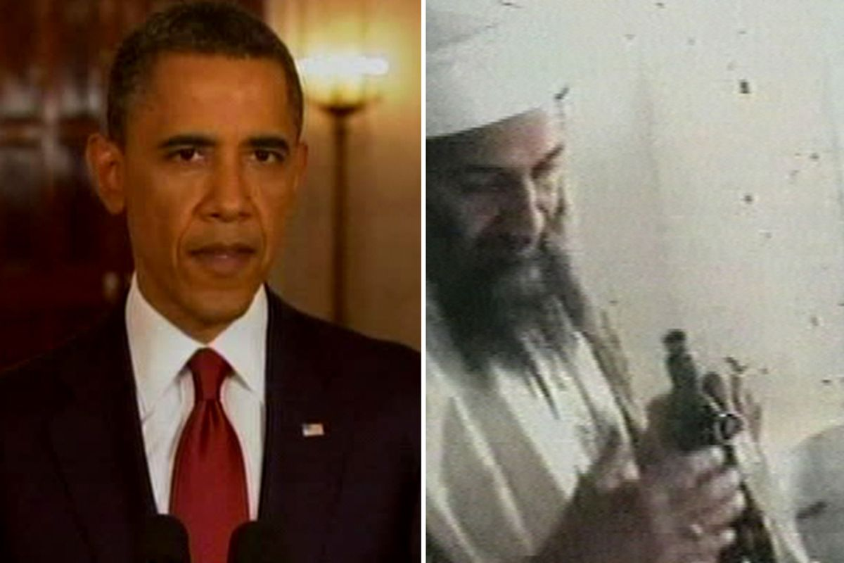 President Barack Obama. Right: A television image released by Qatar's Al-Jazeera television broadcast on Friday Oct. 5, 2001, said to show the most recent image of Osama bin Laden, left, handling a Kalshnikov rifle at an undisclosed location.