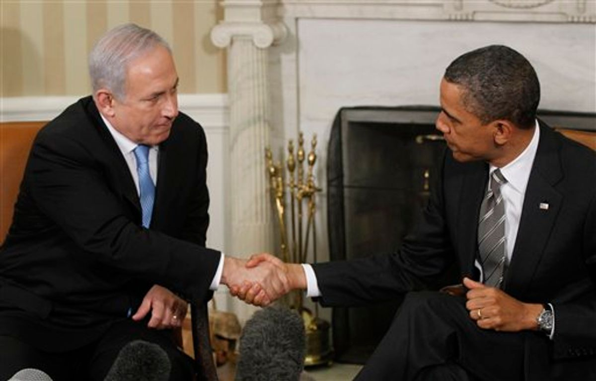 President Barack Obama meets with Prime Minister Benjamin Netanyahu of Israel in the Oval Office at the White House in Washington, Friday, May 20, 2011. (AP Photo/Charles Dharapak)       (AP)