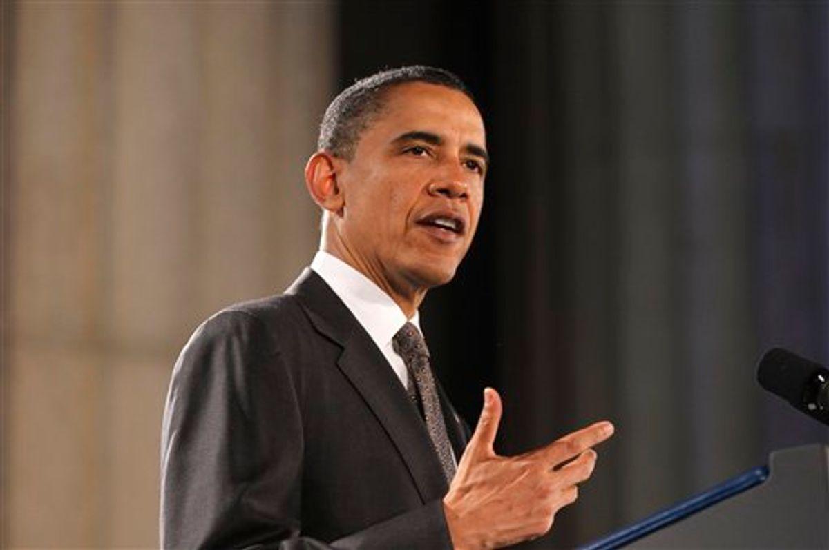 President Barack Obama speaks at the National Hispanic Prayer Breakfast in Washington, Thursday, May 12, 2011. (AP Photo/Charles Dharapak) (AP)