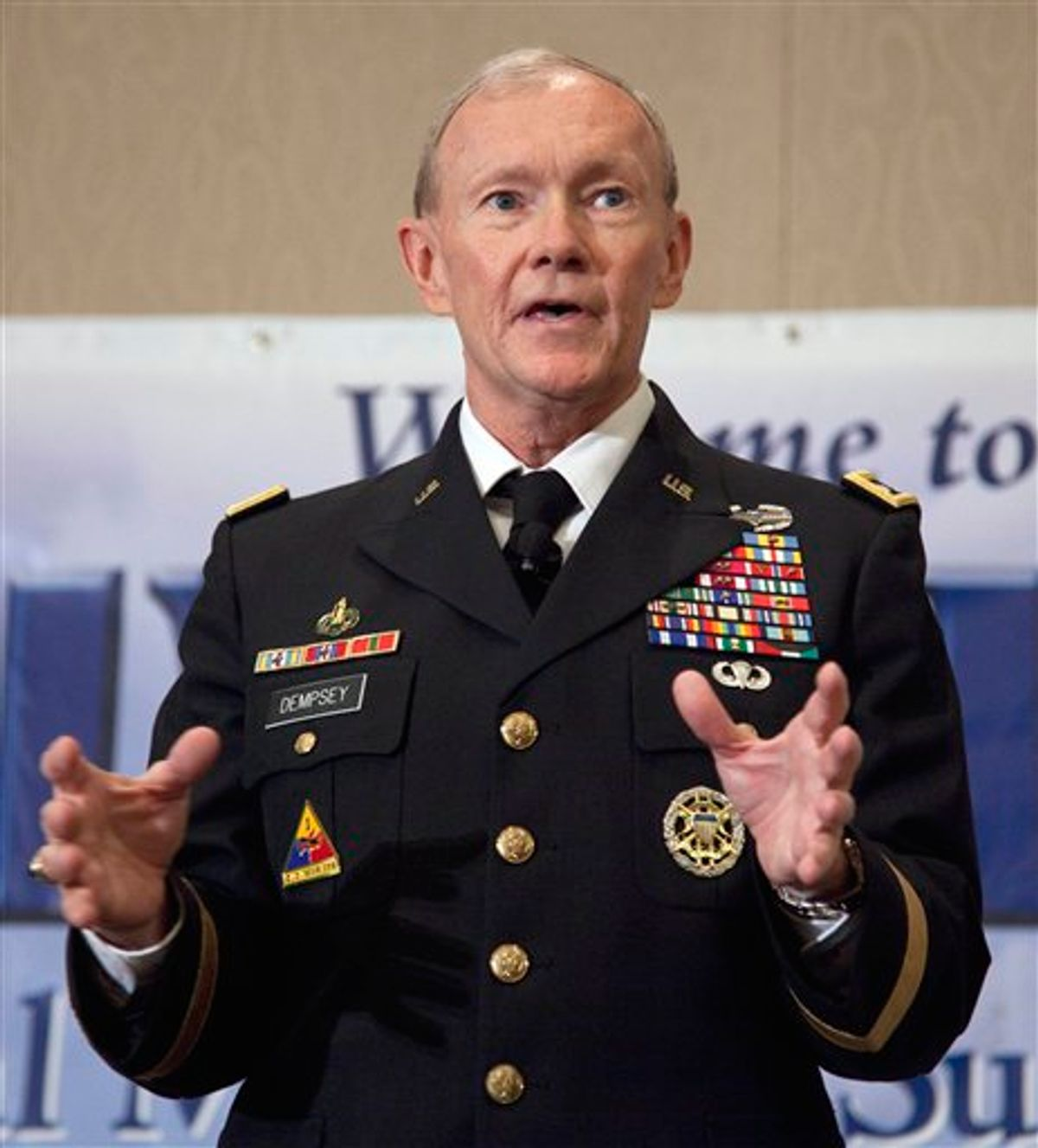 Army Chief of Staff Gen. Martin Dempsey speaks to family members of fallen service members at a Tragedy Assistance Program for Survivors seminar, Friday, May 27, 2011, in Arlington, Va.  (AP Photo/Evan Vucci) (AP)