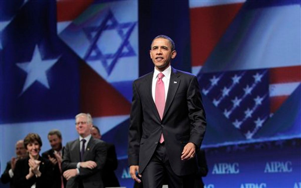 President Barack Obama arrives to speak at the American Israel Public Affairs Committee (AIPAC) convention in Washington, Sunday, May 22, 2011. After a contentious couple of days this week when he clashed publicly with Israeli Prime Minister Benjamin Netanyahu over ideas for a permanent Palestinian state, Obama is focusing on the deep U.S.-Israeli friendship and alliance. (AP Photo/J. Scott Applewhite) (AP)