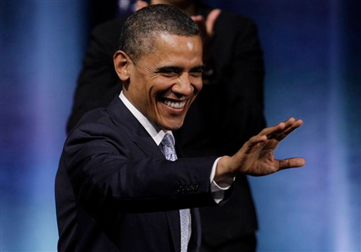 President Barack Obama waves as he prepares to speak at the Austin City Limits Live at the Moody Theater, Tuesday, May 10, 2011, in Austin, Texas.  (AP Photo/Eric Gay) (AP)